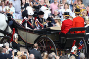 Prince Andrew, Duke of York (Back-L), Prince William, Duke of Cambridge (Back-R),  Prince Edward; Earl of Wessex (Front-L) and  Sophie, Countess of Wessex ride in a carriage during the Order Of The Garter Service at Windsor Castle on June 18, 2018 in Windsor, England. The Order of the Garter is the senior and oldest British Order of Chivalry, founded by Edward III in 1348. The Garter ceremonial dates from 1948, when formal installation was revived by King George VI for the first time since 1805.