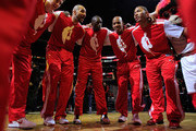 (L-R) Omer Asik #3, Carlos Boozer #5, Loul Deng #9, Keith Bogans #6 and Derrick Rose #1 of the Chicago Bulls gather in a huddle after player introductions before a game against the Orlando Magic at the United Center on December 1, 2010 in Chicago, Illinois. NOTE TO USER: User expressly acknowledges and agrees that, by downloading and/or using this Photograph, User is consenting to the terms and conditions of the Getty Images License Agreement.