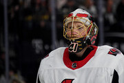 Craig Anderson #41 of the Ottawa Senators takes a break during a stop in play in the second period of a game against the Vegas Golden Knights at T-Mobile Arena on March 2, 2018 in Las Vegas, Nevada. The Senators won 5-4.