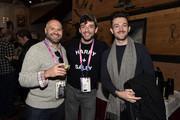 (L-R) Adam Natale, Michael Urie and guest attend during the Outfest Queer Brunch during the 2019 Sundance Film Festival at Grub Steak on January 27, 2019 in Park City, Utah.