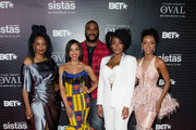 (L-R) Novi Brown, KJ Smith, Tyler Perry, Mignon, and Ebony Obsidian attend the Oval and Sistas screenings at Southern Exchange on October 20, 2019 in Atlanta, Georgia.