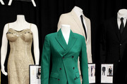 """A suit donated by Julia Roberts at """"Shop My Closet"""" featuring clothing and accessories donated by celebrities for the Ovarian Cancer Research Alliance Presents Style Lab hosted by Maggie Gyllenhaal & Kate Mara at Gotham Hall NYC on November 06, 2019 in New York City."""