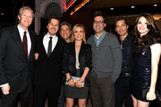 "(L-R) Overture Films' Chris McGurk, director Breck Eisner, actress actress Radha Mitchell, Overture Films' Danny Rosett, producer Michael Aguilar, actors Timothy Olyphant and Danielle Panabaker arrive at Overture's ""The Crazies"" VIP screening at the Vista Theatre on February 23, 2010 in Los Angeles, California."