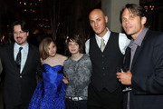 """(L-R) Director Matt Reeves, actors Chloe Moretz, Kodi Smit-McPhee, Dylan Kenin, and Chris Browning attend the premiere of Overture's """"Let Me In"""" after party at Napa Valley Grille on September 27, 2010 in Los Angeles, California."""