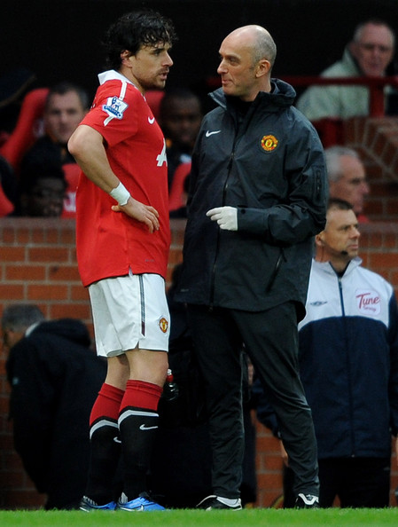 Owen Hargreaves Owen Hargreaves of Manchester United consults with the  team physio prior to leaving the pitch with an injury during the Barclays Premier League match between Manchester United and Wolverhampton Wanderers at Old Trafford on November 6, 2010 in Manchester, England.