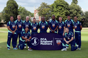The PCA England Masters team of Alex Tudor, Ali Brown, Dominic Cork, Phil DeFreitas, John Emburey, Steve Harmison, Matthew Hoggard, Adam Hollioake, Geraint Jones, Devon Malcolm and Owais Shah during the PCA Summer Garden Party at The Hurlingham Club on July 19, 2018 in London, England.