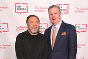 Ai Weiwei and Michael Keegan attend PEN America 2018 LitFest Gala at the Beverly Wilshire Four Seasons Hotel on November 02, 2018 in Beverly Hills, California.