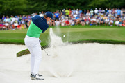 Jordan Spieth of the United States plays a shot from a bunker on the eighth hole  during the second round of the 2017 PGA Championship at Quail Hollow Club on August 11, 2017 in Charlotte, North Carolina.