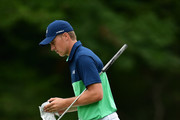 Jordan Spieth of the United States walks along the eighth hole during the second round of the 2017 PGA Championship at Quail Hollow Club on August 11, 2017 in Charlotte, North Carolina.