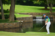 Jordan Spieth of the United States plays his shot on the seventh hole  during the second round of the 2017 PGA Championship at Quail Hollow Club on August 11, 2017 in Charlotte, North Carolina.