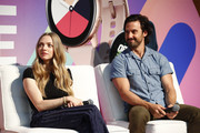 Milo Ventimiglia and Amanda Seyfried speak on stage during the POPSUGAR Play/ground at Pier 94 on June 22, 2019 in New York City.