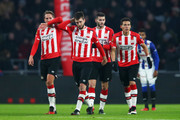 Davy Propper of PSV celebrates scoring his teams first goal of the game with team mates during the Dutch Eredivisie match between PSV Eindhoven and SC Heerenveen held at Philips Stadion on January 22, 2017 in Eindhoven, Netherlands.