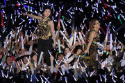 "2ne1 perform onstage during a PSY concert titled ""Happening"" at Olympic Stadium on April 13, 2013 in Seoul, South Korea."