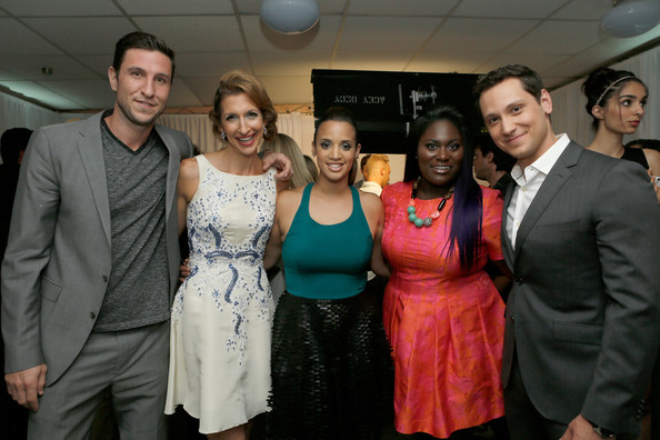 Green Room at the Young Hollywood Awards  [event,social group,fashion,youth,formal wear,fun,suit,party,smile,actors,pablo schreiber,matt mcgorry,alysia reiner,danielle brooks,dascha polanco,young hollywood awards,l-r,green room,samsung galaxy]