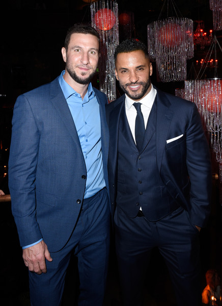 'American Gods' Season Two Red Carpet Premiere Event [suit,formal wear,event,premiere,tuxedo,fashion,tie,bow tie,outerwear,white-collar worker,california,los angeles,event,american gods season two red carpet premiere,american gods season two red carpet premiere event,ricky whittle,pablo schreiber]