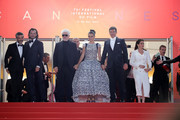 "(L-R) Leonardo Sbaraglia, Asier Etxeandia, Director Pedro Almodovar, Penelope Cruz, wearing Atelier Swarovski Fine Jewelry, Antonio Banderas and Nora Navas depart the screening of ""Pain And Glory (Dolor Y Gloria/Douleur Et Gloire)"" during the 72nd annual Cannes Film Festival on May 17, 2019 in Cannes, France."
