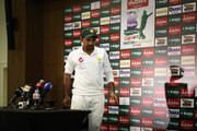 Sarfraz Ahmed of Pakistan leaves a press conference after day five of the First Test match in the series between Australia and Pakistan at Dubai International Stadium on October 11, 2018 in Dubai, United Arab Emirates.
