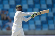 Shoaib Malik of Pakistan bats during day three of the 2nd test match between Pakistan and England at Dubai Cricket Stadium on October 24, 2015 in Dubai, United Arab Emirates.
