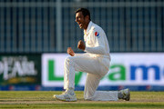 Shoaib Malik of Pakistan celebrates dismissing Ian Bell of England during day four of the 3rd Test between Pakistan and England at Sharjah Cricket Stadium on November 4, 2015 in Sharjah, United Arab Emirates.