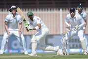 Shoaib Malik of Pakistan bats during day one of the 3rd Test between Pakistan and England at Sharjah Cricket Stadium on November 1, 2015 in Sharjah, United Arab Emirates.
