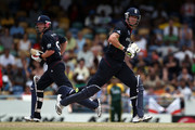 Kevin Pietersen and Paul Collingwood of England run between the wickets during The ICC World Twenty20 Super Eight match between Pakistan and England played at The Kensington Oval on May 6, 2010 in Bridgetown, Barbados.