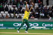 South Africa bowler Imran Tahir reacts during the ICC Champions Trophy match between South Africa and Pakistan at Edgbaston on June 7, 2017 in Birmingham, England.