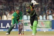 Mark Boucher of South Africa and Shoaib Malik of Pakistan during the second ODI match between Pakistan and South Africa held at Gaddafi Stadium on October 20, 2007 in Lahore, Pakistan.