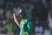 Shoaib Malik of Pakistan celebrates after scoring his half century  during the second One Day International match between Pakistan and West Indies  at Sharjah Cricket Stadium on October 2, 2016 in Sharjah, United Arab Emirates.