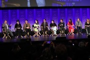 "Patton Oswalt, Amy Sherman-Palladino,  Daniel Palladino, Rachel Brosnahan, Tony Shaloub, Alex Borstein, Michael Zegen, Marin Hinkle, Kevin Pollack, and Caroline Aaron of ""The Marvelous Mrs. Maisel"" attend The Paley Center For Media's 2019 PaleyFest LA - Opening Night Presentation: Amazon Prime Video's ""The Marvelous Mrs. Maisel"" on March 15, 2019 in Los Angeles, California."