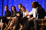 """(L-R) Executive producers Greg Berlanti, Ali Adler, actors Melissa Benoist, Calista Flockhart, Chyler Leigh, Mehcad Brooks, and David Harewood attend The Paley Center For Media's 33rd Annual PALEYFEST Los Angeles """"Supergirl"""" at Dolby Theatre on March 13, 2016 in Hollywood, California."""