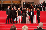 (L-R) Nicolas Winding Refn, Gael Garcia Bernal, Thierry Fremaux, Do-yeon Jeon, Jane Campion, Leila Hatami, Sofia Coppola, Zhangke Jia, Carole Bouquet and Willem Dafoe attend the red carpet for the Palme D'Or winners at the 67th Annual Cannes Film Festival on May 25, 2014 in Cannes, France.