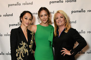 (L-R) Cara Santana, Katharine McPhee and Pamella Roland are seen backstage for Pamella Rowland during New York Fashion Week: The Shows on September 10, 2019 in New York City.