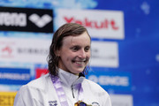 Gold medalist Katie Ledecky of the United States celebrates on the podium at the medal ceremony for Women's Freestyle 800m on day one of the Pan Pacific Swimming Championships at Tokyo Tatsumi International Swimming Center on August 9, 2018 in Tokyo, Japan.