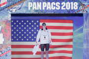 Katie Ledecky of the United States is introduced prior to the Women's 400m Freestyle Final on day three of the Pan Pacific Swimming Championships at Tokyo Tatsumi International Swimming Center on August 11, 2018 in Tokyo, Japan.