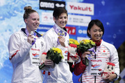 (L to R) Silver medalist Lillia King of the United States, gold medalist Micah Sumrall of the United States and bronze medalist Satomi Suzuki of Japan celebrate on the podium at the medal ceremony for the Women's 200m Breaststroke on day four of the Pan Pacific Swimming Championships at Tokyo Tatsumi International Swimming Center on August 12, 2018 in Tokyo, Japan.