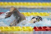 Katie Ledecky of the United States competes in the Women's 1500m Freestyle Timed-Final on day four of the Pan Pacific Swimming Championships at Tokyo Tatsumi International Swimming Center on August 12, 2018 in Tokyo, Japan.