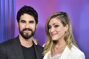 """Darren Criss, Mia Swier attend Panel And Photo Call For FX's """"The Assassination Of Gianni Versace: American Crime Story"""" at Los Angeles County Museum of Art on August 15, 2018 in Los Angeles, California."""