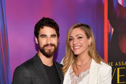 """Darren Criss and Mia Swier attend the panel and photo call for FX's """"The Assassination of Gianni Versace: American Crime Story"""" at Los Angeles County Museum of Art on August 15, 2018 in Los Angeles, California."""