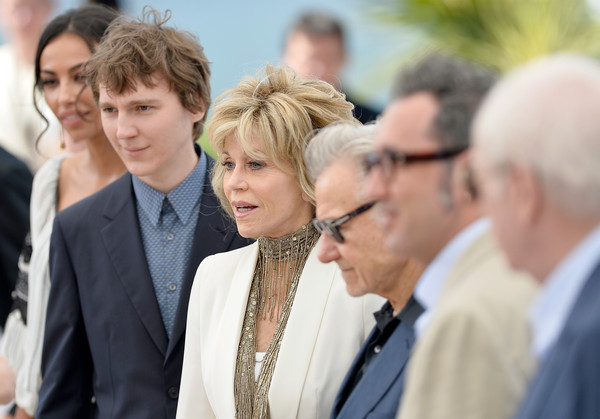 'Youth' Photocall - The 68th Annual Cannes Film Festival [youth photocall,event,white-collar worker,businessperson,conversation,suit,gesture,paolo sorrentino,actors,jane fonda,harvey keitel,madalina ghenea,paul dano,photocall,l-r,cannes film festival]