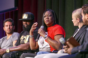 "Michael Gasparro, Tracy Martin, Sybrina Fulton, Julia Willoughby Nason and Jenner Furst on stage at ""Rest In Power: The Trayvon Martin Story"" Screening on July 26, 2018 in Venice, California."