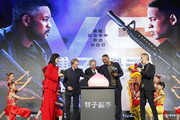"(from left) Jerry Bruckheimer, Ang Lee, and Will Smith cut the peach cake at the Paramount Pictures ""Gemini Man"" Taipei Premiere at Miramar Da-Zhi Cinema on October 21, 2019 in Taipei, Taiwan."