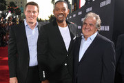 "(L-R) David Ellison, Will Smith, and Paramount Pictures chairman Jim Gianopulos attend Paramount Pictures' premiere of ""Gemini Man"" on October 06, 2019 in Hollywood, California."