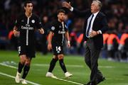 Carlo Ancelotti, Head Coach of Napoli reacts as Angel Di Maria of Paris Saint-Germain looks on during the Group C match of the UEFA Champions League between Paris Saint-Germain and SSC Napoli at Parc des Princes on October 24, 2018 in Paris, France.