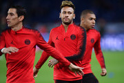 Angel Di Maria of Paris Saint-Germain and Neymar of Paris Saint-Germain warm up during the Group C match of the UEFA Champions League between Paris Saint-Germain and SSC Napoli at Parc des Princes on October 24, 2018 in Paris, France.