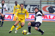 Blerim Dzemaili of Parma FC competes for the ball with Aleksandar Lukovic of Udinese Calcio during the Serie A match between Parma and Udinese at Stadio Ennio Tardini on January 17, 2010 in Parma, Italy.