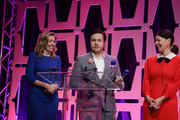 """Denise Huth, Josh McDermitt and Pollyanna McIntosh receive the 2018 Global TV Demand Award Most In-Demand TV Series for the""""The Walking Dead"""" at the Parrot Analytics Presents The Global TV Demand Awards at Fontainebleau Hotel on January 22, 2019 in Miami Beach, Florida."""