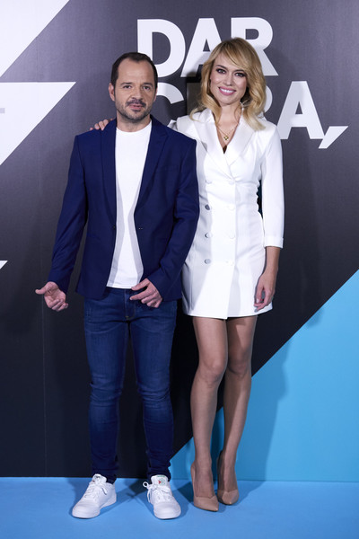 'Dar Cera, Pulir #0' Movistar Presentation [clothing,suit,fashion,premiere,formal wear,event,footwear,carpet,outerwear,electric blue,patricia conde,angel martin attend,dar cera pulir 0,movistar presentation,movistar presentation at the mediapro studio on may 30,madrid,spain]