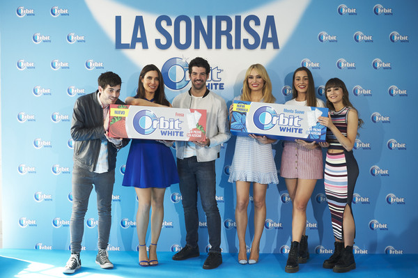 'Buscamos La Sonrisa Orbit White' Competition In Madrid [product,youth,event,award ceremony,award,drink,competition,performance,paula gonu,patricia conde,anton lofer,l-r,aitana attend,buscamos la sonrisa orbit white,competition in madrid,buscamos la sonrisa orbit white competition at club allard restaurant on may 9,madrid,spain]