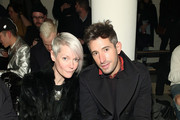 Editor-in-chief of Maxim magazine Kate Lanphear and style director at WSJ magazine, David Thielebeule attend Patrik Ervell runway show during MADE Fashion Week Fall 2015 at Milk Studios on February 16, 2015 in New York City.