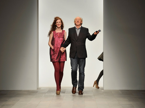 Paul Costelloe and his daughter Jessica walk the runway after his show at London Fashion Week Autumn/Winter 2011 at Somerset House on February 18, 2011 in London, England.